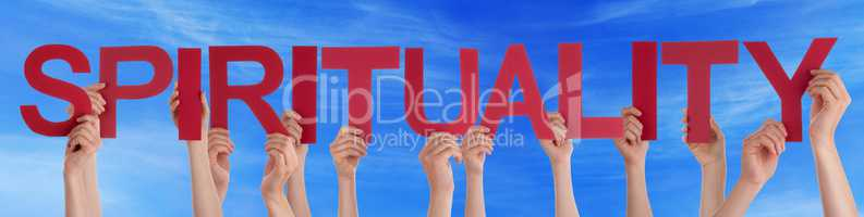 Many People Hands Holding Red Straight Word Spirituality Blue Sk