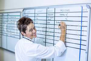 Woman vet from the back smiling and writing something on a board