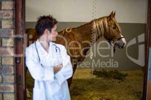 Portrait of woman vet looking a sick horse