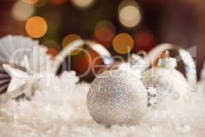 extreme close up view of white baubles