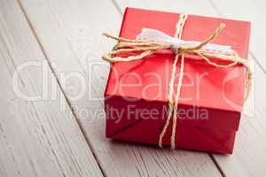 Overhead view of a red present
