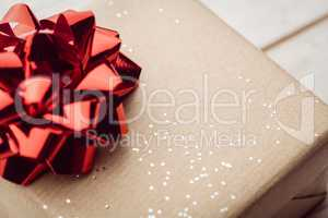 extreme close up view of a present