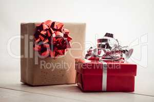Front view of two presents