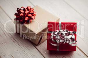 ovrhead view of two presents