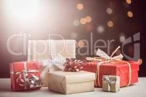 Composite image of presents on table