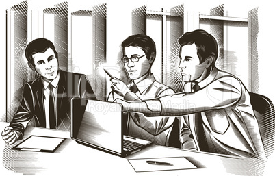 Business partners discussing documents and ideas at meeting. Vector engraved illustration.