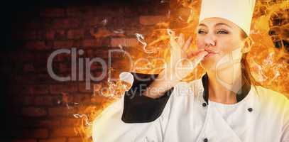 Composite image of portrait of a woman chef satisfying