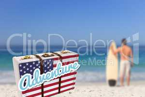 Composite image of suitcase with the american flag