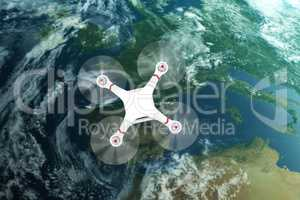Composite image of image of a drone