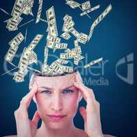 Composite image of pretty blonde suffering from headache looking at camera