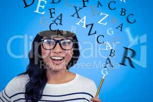 Composite image of attractive asian woman with hat holding pencil