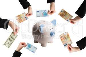 Composite image of businesswomans hand holding fifty euro notes