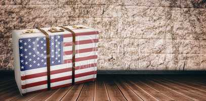 Composite image of american flag on a suitcase