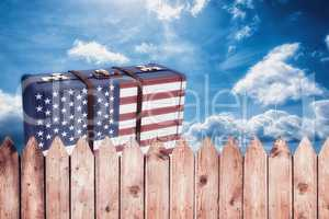 Composite image of usa flag suitcase