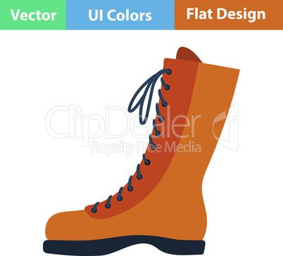 Flat design icon of hiking boot