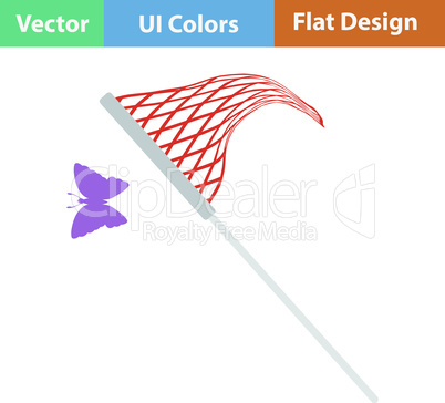 Flat design icon of butterfly net