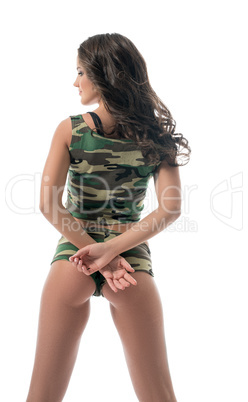 Model in underwear military colors poses at camera