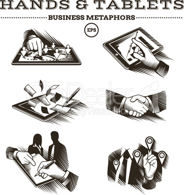 Business metaphors. Vector illustration in vintage style.