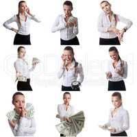 Set of business woman posing with emotional face