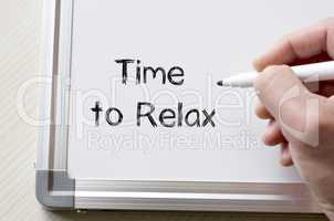Time to relax written on whiteboard