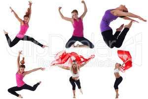 Photo set of fitness women exercising in studio