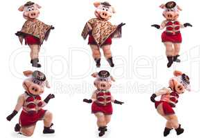 Collage of person in pig mascot costume for dance