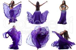 Collection of lovely brunette dancing belly dance