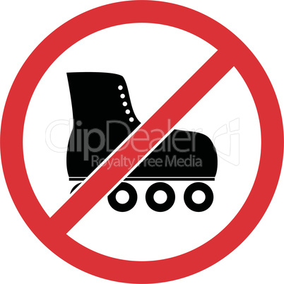 No skate, rollerskate prohibited symbol. Vector.