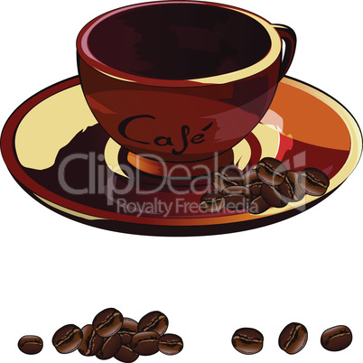 Cup of coffee vector illustration on a white background