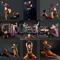 East Dance. Collage of dancers perform with spears
