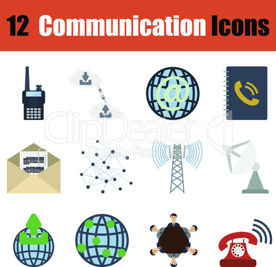 Flat design communication icon set