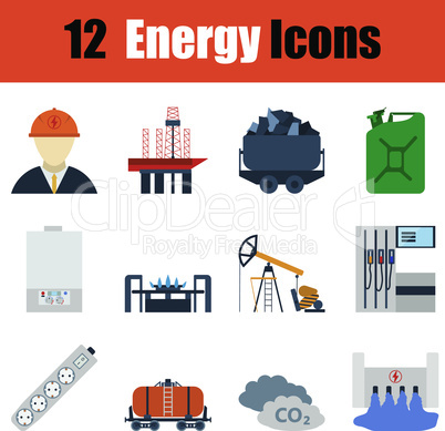 Flat design energy icon set