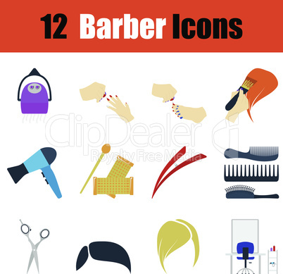 Flat design barber icon set