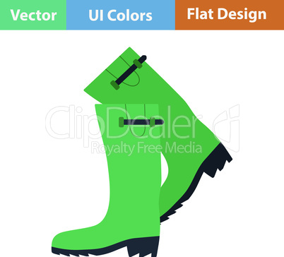 Flat design icon of hunter's rubber boots