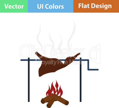Flat design icon of roasting meat