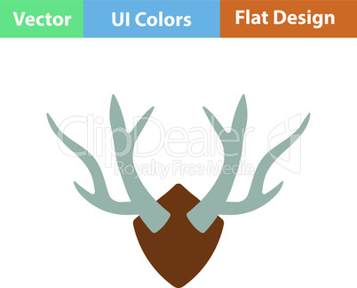 Flat design icon of deer's antlers