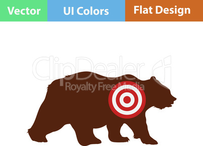 Flat design icon of bear silhouette with target