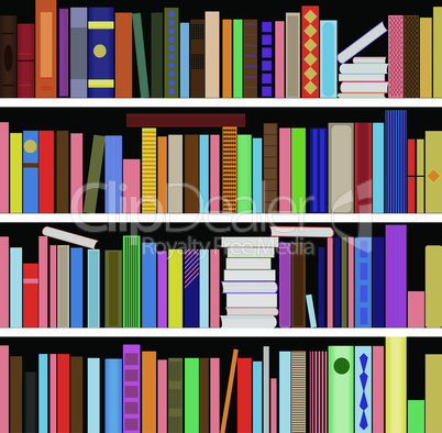 Books vector seamless texture vertically and horizontally. Bookshelf background.