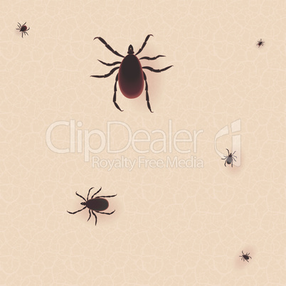 Encephalitis tick. Mite skin dust parasite vector icon illustration. Parasite silhouette. Bed bug Cimex lectularius on human skin.