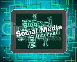 Social Media Represents News Feed And Blogs