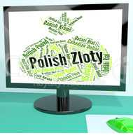Polish Zloty Indicates Foreign Currency And Banknote