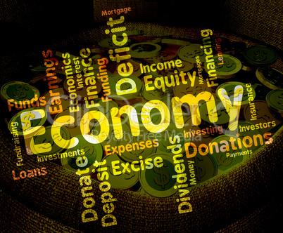 Economy Word Represents Economizing Text And Economies