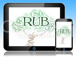 Rub Currency Shows Russian Rubles And Coin