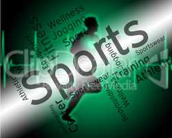 Sports Word Shows Physical Activity And Exercising