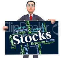Stocks Word Indicates Return On Investment And Finance