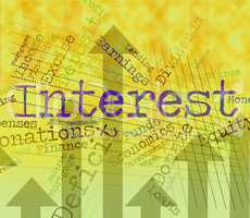 Interest Word Shows Return Rate And Savings