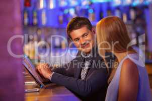 Adult couple in bar