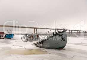 Ship wreck in a frozen river