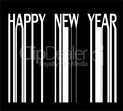 Happy new year on barcode vector illustration