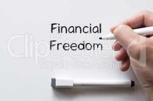 Financial freedom written on whiteboard